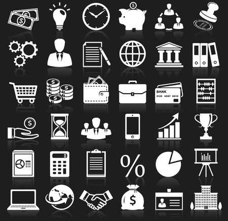budget: Business, finance and marketing icons. Set of 36 concept symbols with reflection for your design. Collection of white silhouette elements on black background. Vector illustration.