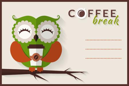 Koffiepauze. Leuke uil met papier koffiekopje. Vector kaart met plaats voor tekst. Vlakke stijl met lange schaduw.