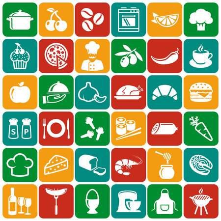garlic: Food and cooking flat icons. Set of white symbols for a culinary theme. Healthy and junk food, fruit and vegetables, spices, cooking utensils and more. Vector collection of silhouette design elements.