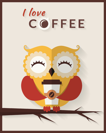 drink coffee: I love coffee. Cute owl with paper coffee cup. Vector card in flat style.