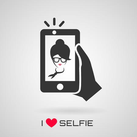 Selfie が大好きです。Selfie アイコン。トレンディな女性がスマート フォンにセルフ ポートレートを撮影します。ベクトルの図。