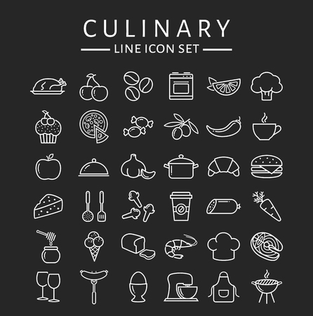Food and cooking web icons. Set of white symbols for a culinary theme. Healthy and junk food, fruit and vegetables, seafood, spices, cooking utensils and more. Collection of line design elements. Illustration