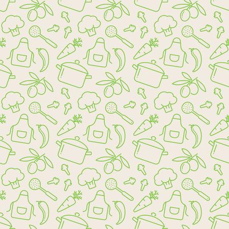 Essen und Küche nahtlose Muster. Netter Hintergrund mit Linie Symbole für kulinarische Themen. Vektor-Illustration.