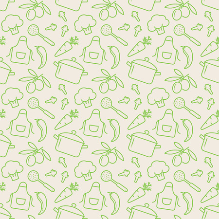 Food and kitchen seamless pattern. Cute background with line icons for culinary theme. Vector illustration. Çizim