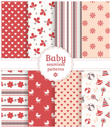 collection red: Collection of baby seamless patterns in white, red, pink and gray colors. Vector illustration.