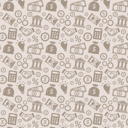 handclasp: Business and finance seamless pattern. Background with silhouette icons for business theme. Vector illustration.