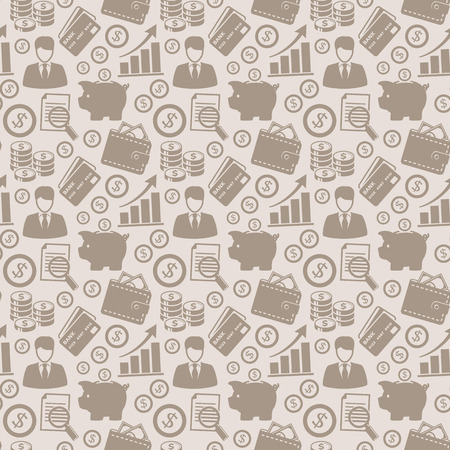 Business and finance seamless pattern. Background with silhouette icons for business theme. Vector illustration.