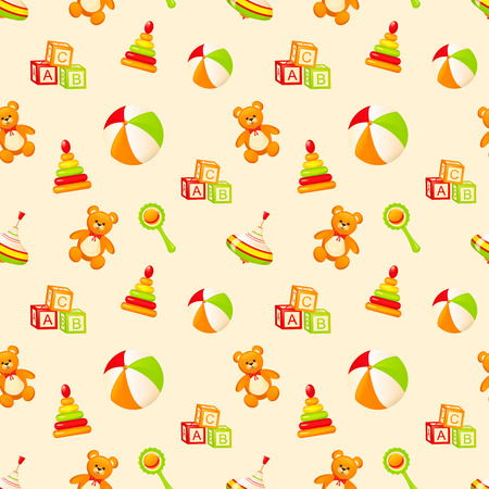 baby blocks: Seamless pattern with childrens toys. Vector illustration.