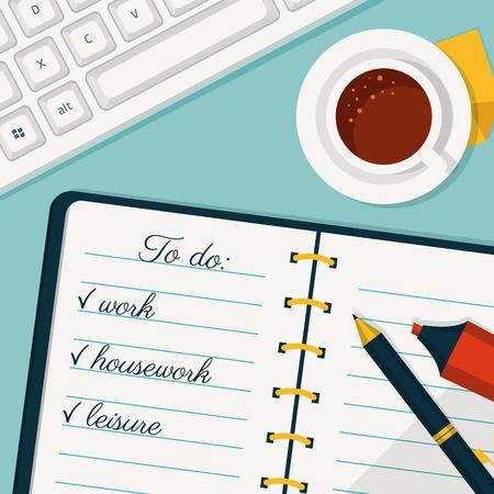 La ejecución del plan. Vector del fondo del concepto de estilo plano. Bandera con para hacer la lista en un cuaderno, taza de café y el teclado.