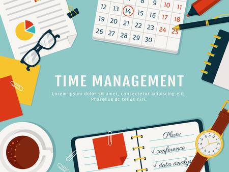Zeitmanagement-Banner. Effiziente Nutzung der Zeit für die Umsetzung des Plans. Vektor-Konzept Hintergrund. Draufsicht des Arbeitsplatzes. Wohnung Stil. Vektorgrafik