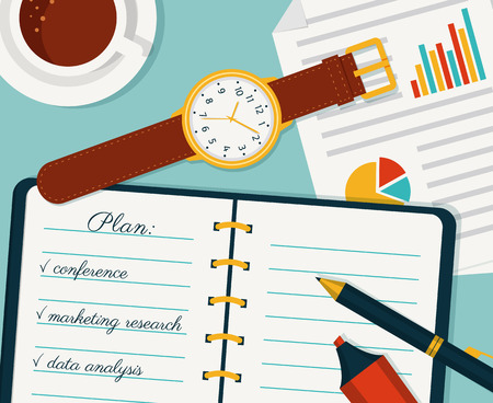 pen and marker: Time management banner. Efficient use of time for implementation of the work plan. Vector concept background. Top view of the notebook, wristlet watch, pen, marker, coffee and document. Flat style.