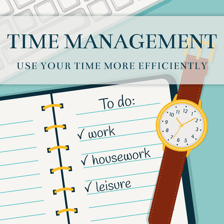 accomplish: Time management advertising banner. Efficient use of time for the implementation of the plans. Vector concept background in flat style. Top view of to do list in a notebook, wristlet watch and keyboard.