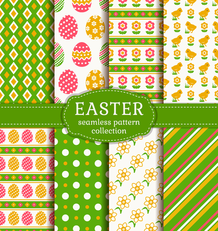 green backgrounds: Happy Easter! Set of cute holiday backgrounds. Collection of seamless patterns with traditional symbols. Vector illustration.