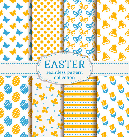 Happy Easter! Set of cute holiday backgrounds. Collection of seamless patterns in white, blue and orange colors. Vector illustration.