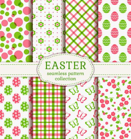 Joyeuses Pâques! Ensemble de milieux de vacances mignons. Collection de modèles sans couture dans les couleurs blanc, rose et vert. Illustration vectorielle.
