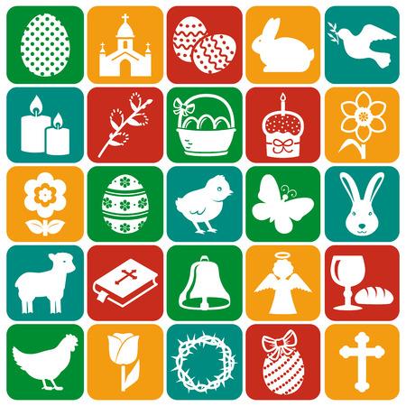 simbolos religiosos: ¡Felices Pascuas! Conjunto de 25 días de fiesta, símbolos religiosos y concepto. Colección de elementos de la silueta blancas en placas de colores. Ilustración del vector.