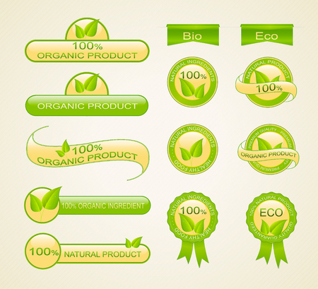 Labels for eco-friendly, organic and natural product. Collection of vector design elements.