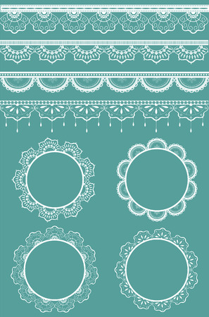 woven: Collection of lace ribbons and frames. Vector illustration. Each design element is on a separate layer.  contains lace brushes, they can be use for your design. Illustration
