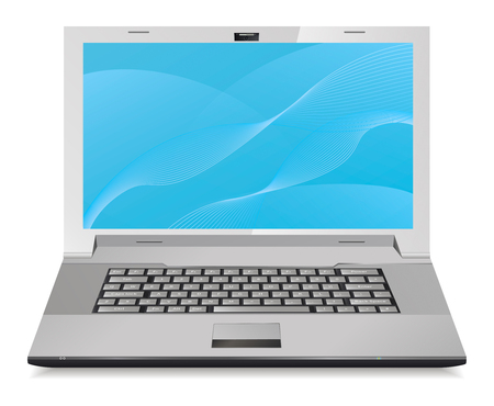 Silver laptop isolated on white. Front view. Vector illustration.