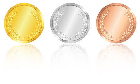 crocket: Set of the gold, silver and bronze medals with the image of a laurel wreath.