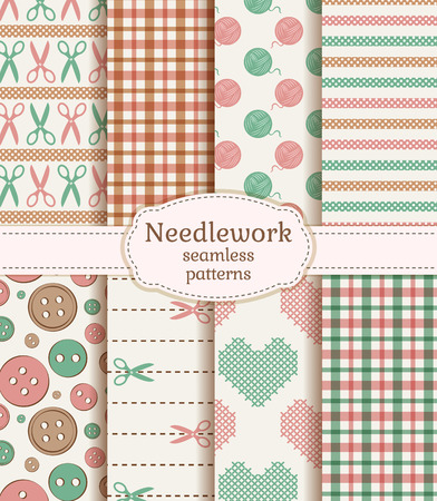 knitting: Set of needlework seamless patterns in pastel colors. Vector illustration.