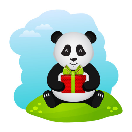 green day baby blue background: Cute panda with gift box. Vector illustration for a birthday or other holiday.