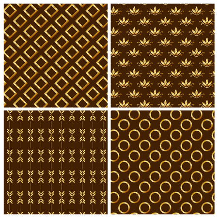 gold brown: Set of seamless patterns with gold gradient ornaments. Vector illustration.