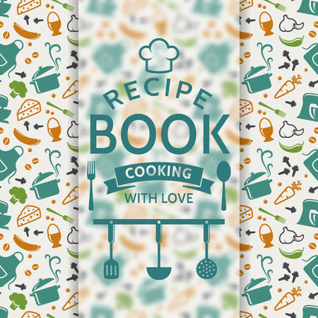recipe card: Recipe book. Cooking with love. Recipe card with colored culinary symbols and typographic badge. Vector background.