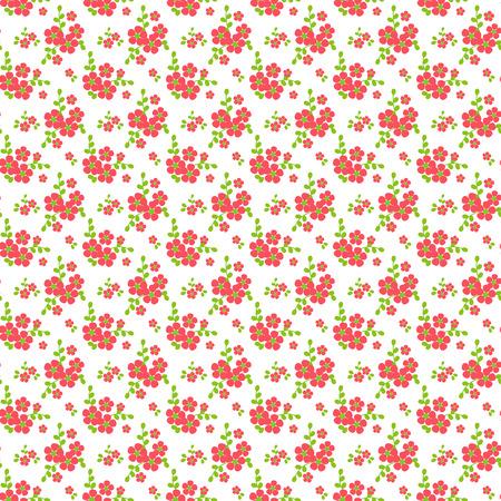petites fleurs: motif floral dans les couleurs blanc, rose et vert. Seamless background avec de petites fleurs. Vector illustration.