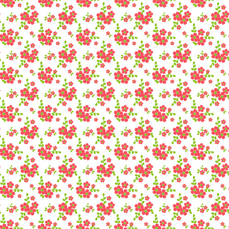 Floral pattern in white, pink and green colors. Seamless background with small flowers. Vector illustration. Illustration