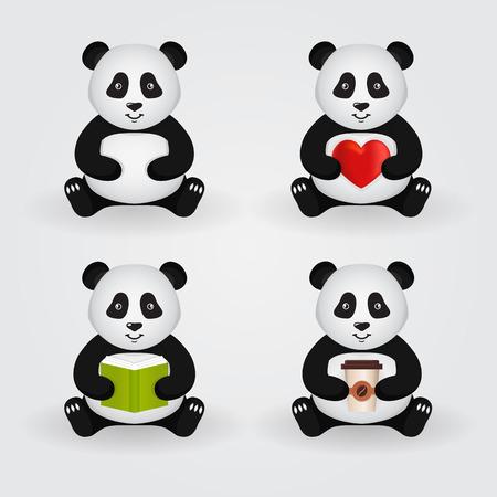 pandas lindos dibujos animados aislados sobre fondo claro. Conjunto de pandas que sostienen un par de cosas diferentes: corazón, libro, taza de café. Ilustración del vector.