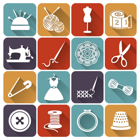 Set of sewing and needlework icons. Collection of flat design elements. Vector illustration. Vettoriali