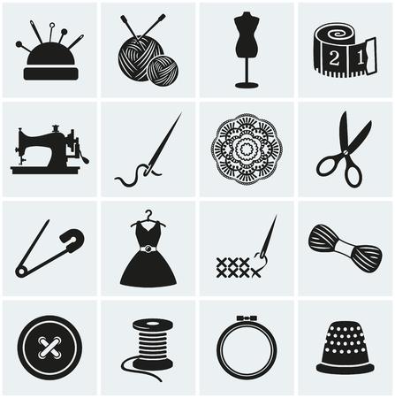 broderie: Ensemble de couture et de travaux d'aiguille icônes. La collecte d'éléments de design. Vector illustration.