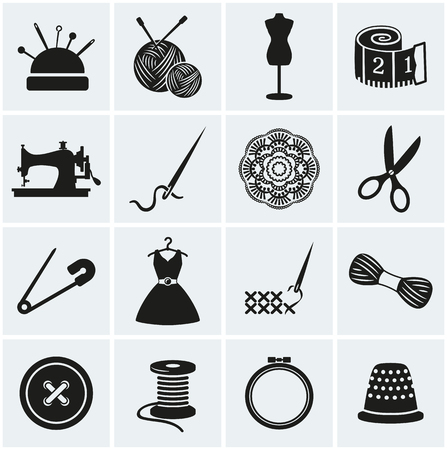 tape measure: Set of sewing and needlework icons. Collection of design elements. Vector illustration.