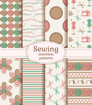 needlework: Set of sewing and needlework seamless patterns in pastel colors. Vector illustration.
