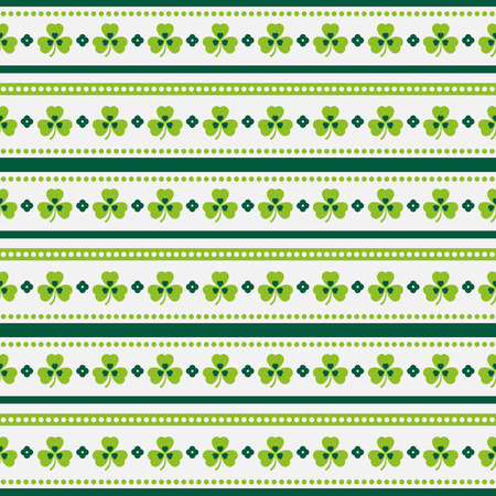 17: Happy St. Patricks Day! Seamless striped pattern with shamrocks. Vector background.