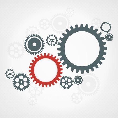 Vector de fondo con ruedas dentadas grises y rojos. concepto de trabajo en equipo. Ilustración de vector