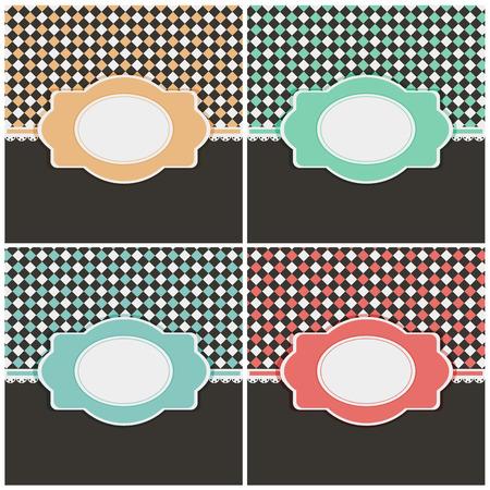 celadon: Set of vintage cards in different color variations with labels. Vector illustration.