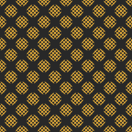 Seamless pattern with hatched circles. Abstract background in black and gold colors. Vector illustration.