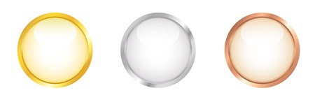 shiny argent: Glossy white buttons with golden, silver and bronze border. Vector illustration.