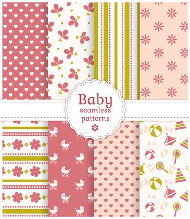 繊細な白、ピンク、緑の色で赤ちゃんのシームレス パターンのコレクションです。ベクトルの図。