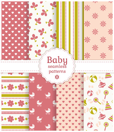 baby girl: Collection of baby seamless patterns in delicate white, pink and green colors. Vector illustration. Illustration