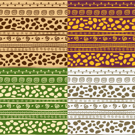 primitivism: Set of four hand-drawn seamless patterns. Vector illustration. Can be tiled seamlessly in any directions.
