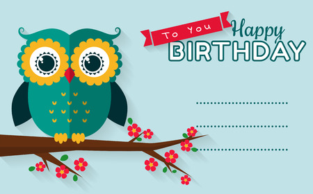 with space for text: Happy birthday to you! Greeting card with cute owl and place for your wishes. Flat style with long shadow. Vector illustration.