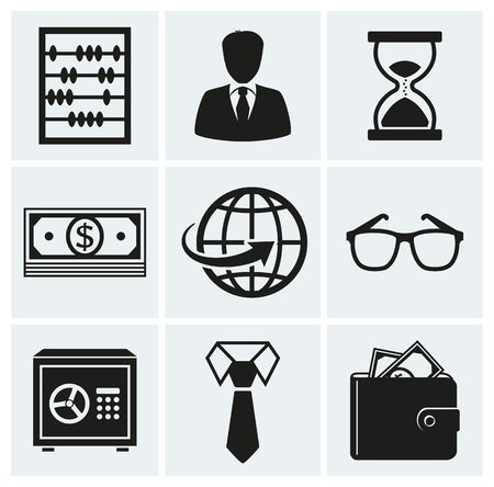 time keeping: Business and finance icons. Set of silhouette black elements for your design. Vector illustration.