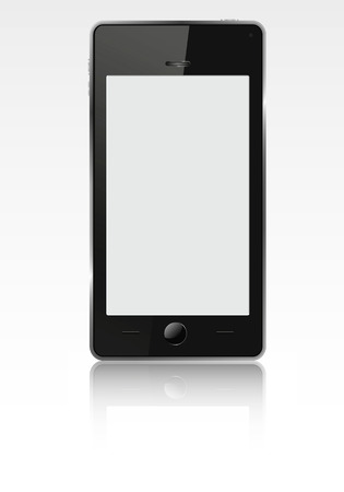 liquid crystal display: Realistic mobile phone (smartphone) with blank screen. Vector  illustration. Illustration