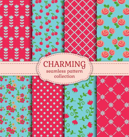 矢量模式集。可爱的无缝背景收集在粉红色,蓝色和绿色。