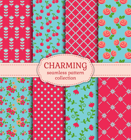vintage paper: Vector patterns set. Collection of cute seamless backgrounds in pink, blue and green colors.