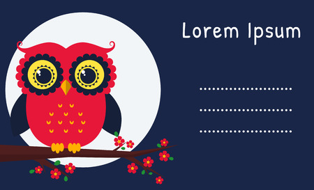party night: Card with a cute owl at night. Template with place for your text. Vector illustration.