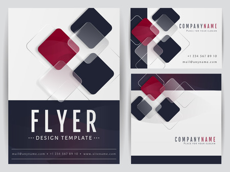 Set of visual corporate identity templates. Flyer, business card and a square banner with abstract geometric decoration. Branding stationery design. Vector illustration.